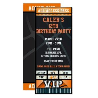 Black Orange Basketball Birthday Party VIP Ticket