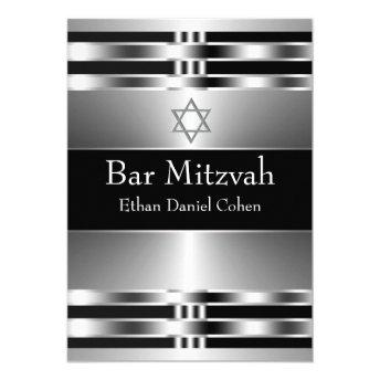 Black Silver Star of David Bar Mitzvah