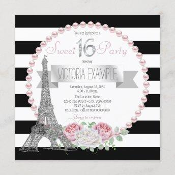 Black Stripe Paris Sweet 16 Party Invitation