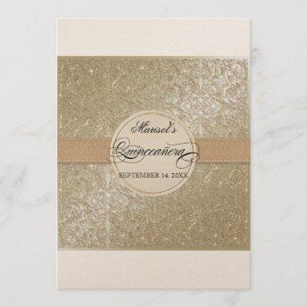 Black Tie Elegance, Champagne Cream Quinceanera Invitation