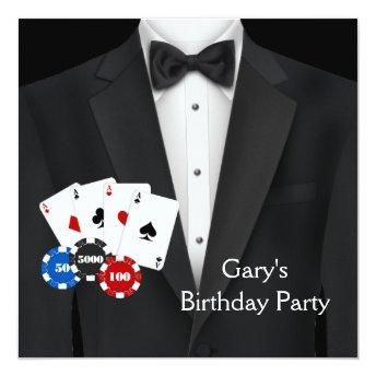 Black Tuxedo Mans Poker Birthday Party