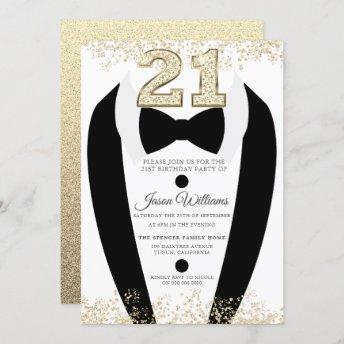 Black Tuxedo Suit Gold Mens 21st Birthday Party Invitation