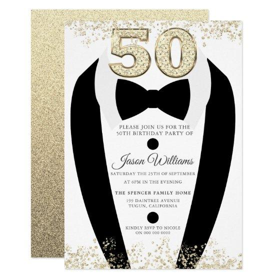 Black Tuxedo Suit Gold Mens 50th Birthday Party Invitation