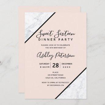 Black typography white marble blush Sweet 16 Invitation