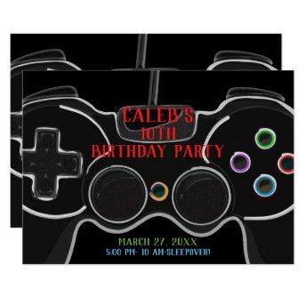Black Video Game Controller Birthday Party Invitation