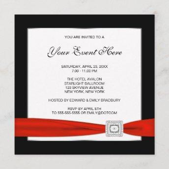 Black White and Red All Occasion Invitation