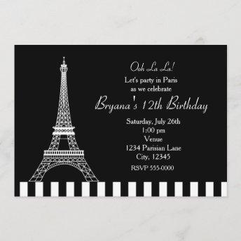 Black White Eiffel Tower Paris Party Invitation