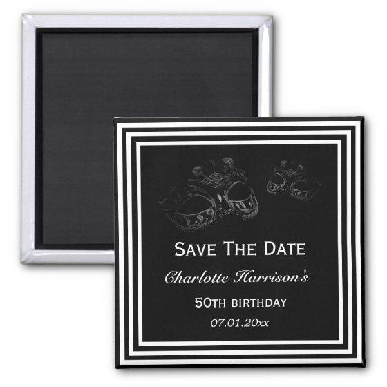 395 Black White Masquerade Birthday Save The Date Magnet
