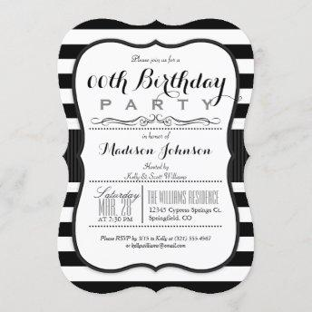 Black & White Stripes Birthday Party Invitation