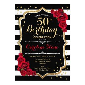 Black White Stripes Roses 50th Birthday Invitation