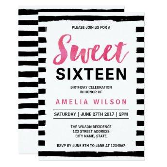 Black & White Stripes Sweet 16 Birthday