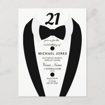 Black white Tuxedo Mens 21st Birthday Party Invite