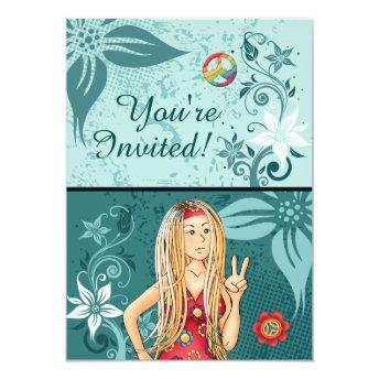 Blond Peace Hippie Girl Birthday Invitation