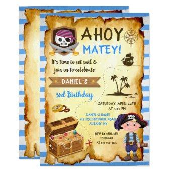 Blue Ahoy Treasure Map Boys Pirate Birthday Invitation