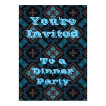 Blue and black Gothic medieval fantasy Invitation