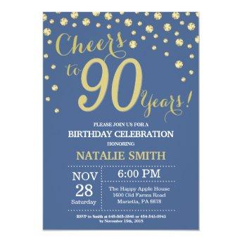 Blue and Gold 90th Birthday Diamond Invitation