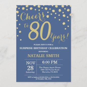 Blue and Gold Surprise 80th Birthday Diamond Invitation