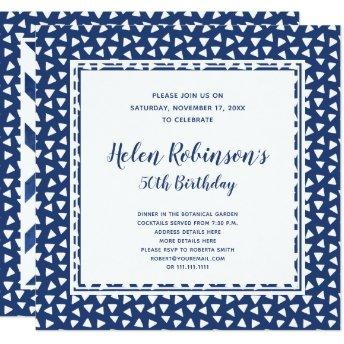 Blue and White 50th Birthday Party Invitation