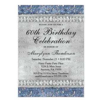 Blue Diamonds Birthday Invitation Velvet Silver