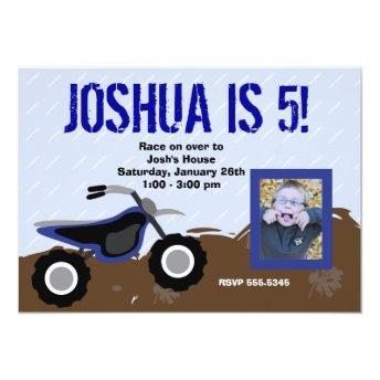 Blue Dirt Bike Birthday Invitation