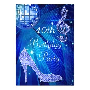 Blue Disco Ball and Heels 40th Birthday Invitation