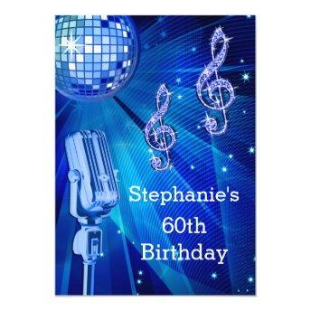 Blue Disco Ball and Retro Microphone 60th Birthday Invitation