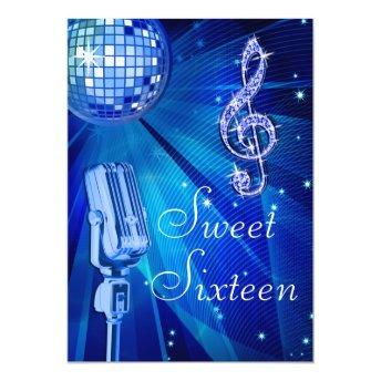 Blue Disco Ball and Retro Microphone Sweet 16