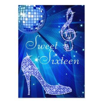 Blue Disco Ball and Sparkle Heels Sweet 16 Invitation