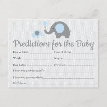 Blue Elephant Baby Predictions Invitation Baby Shower