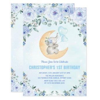 Blue Floral Elephant 1st Birthday Party Invitation
