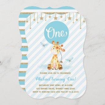 Blue Gold Boy Giraffe First Birthday Twinkle Star Invitation