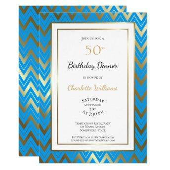 Blue Gold Chevron 50th Birthday Dinner Party Invitation