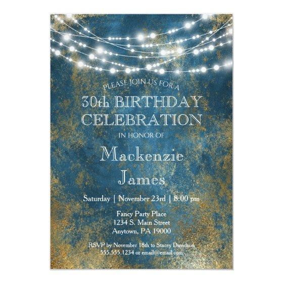 Blue Gold Lights Birthday Party Invitation Adult