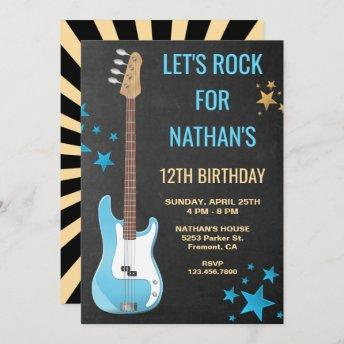 Blue Guitar Rockstar Birthday Party Invitation