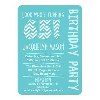 Blue Look Whos Turning 65 Birthday Invitation