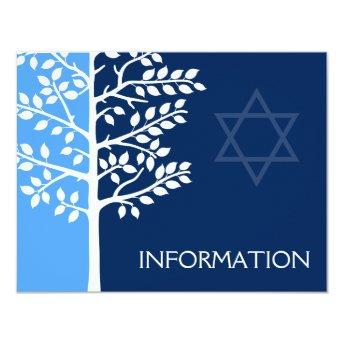 Blue Navy Tree of Life Bar Mitzvah Information