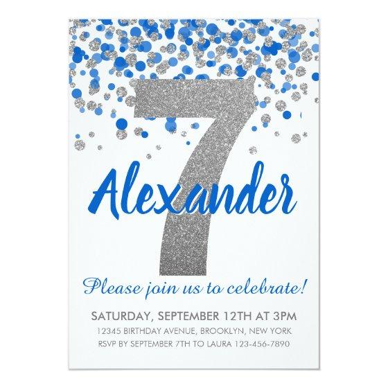 Blue Silver Glitter Confetti Boy Seventh Birthday Invitation