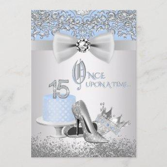 Blue Silver Quinceanera Princess Invitation