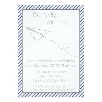 Blue Striped Paper Airplane Birthday Invite