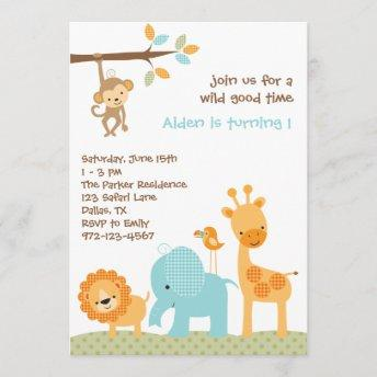 Blue Sweet Safari Invitation