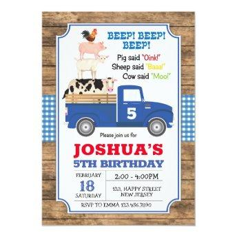 Blue Truck Birthday Invitation. Farm Invite