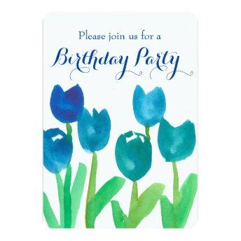 Blue Tulip Watercolor Flowers 90th Birthday Party