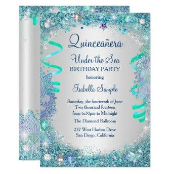 Blue Under The Sea Quinceanera 15th Birthday Party Invitation