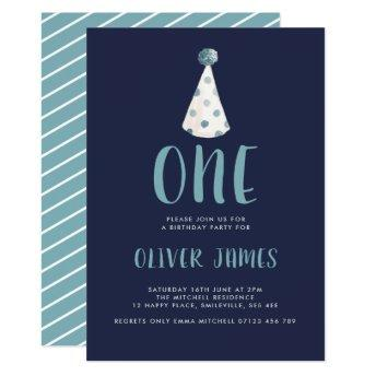 Blue Watercolor Party Hat 1st Birthday Party Invitation