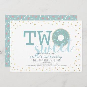 Blue White Gold Donut Two Sweet Boy 2nd Birthday Invitation