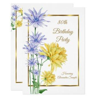 Blue Yellow Flowers Gold Birthday Party Invite