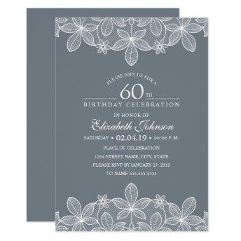 Bluish Grey 60th Birthday Party Creative Lace