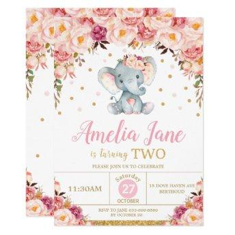 Blush Floral Elephant 2nd Birthday Gold Glitter Invitation