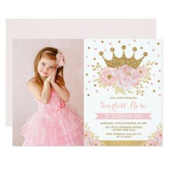 Blush Floral Royal Crown Princess Birthday Party Invitation