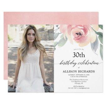 Blush floral watercolor women adult birthday photo invitation